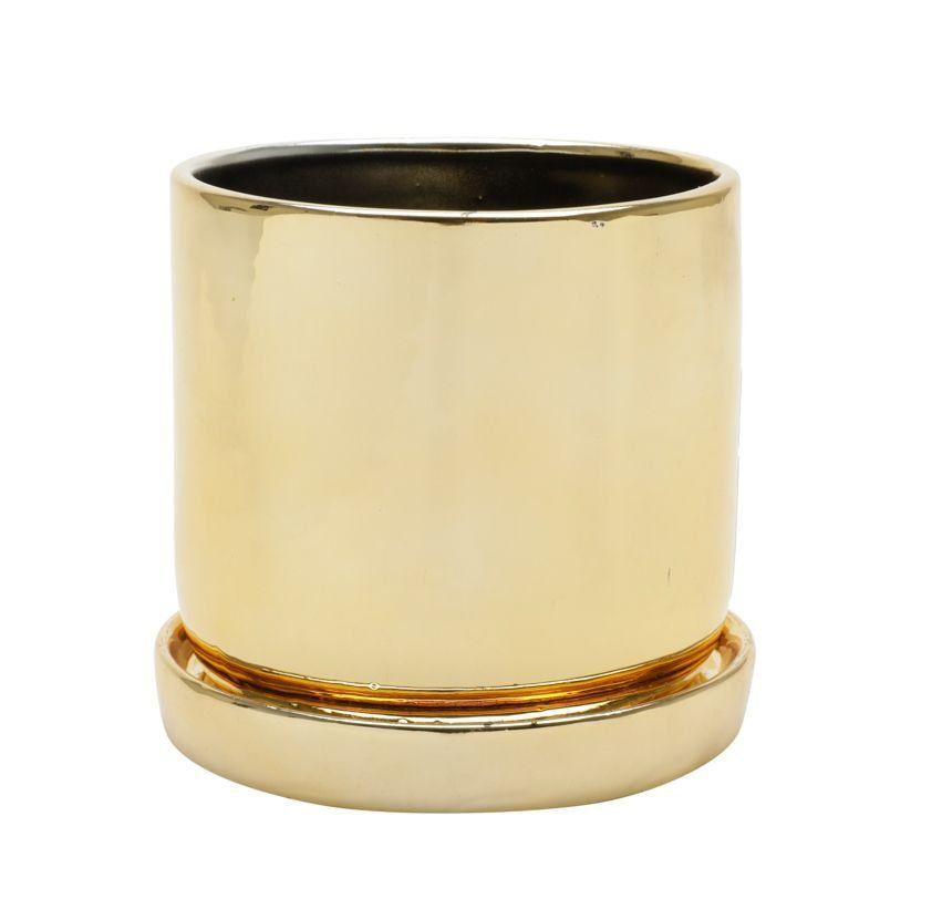 Cachepô de Cerâmica Redondo Shiny Dourado 9,5cm x 10cm - 42855
