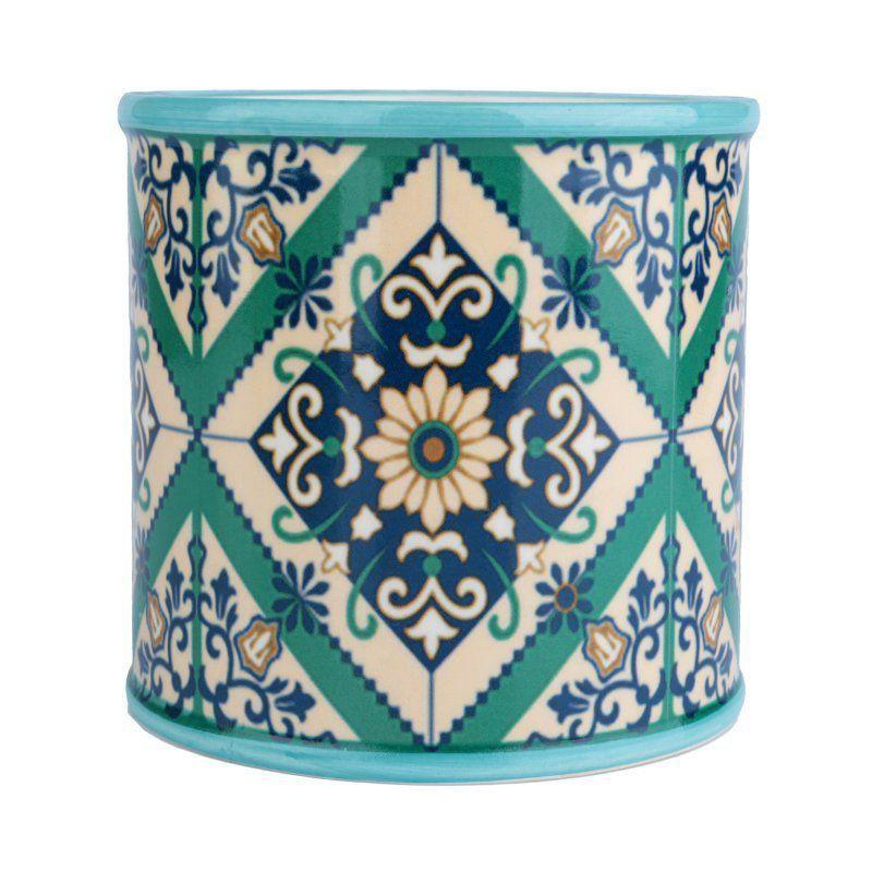 Cachepô de Cerâmica Redondo Verde 12,5cm x 13cm - 40418