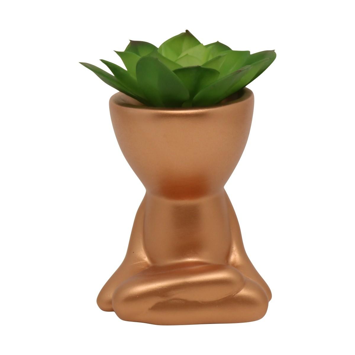 Cachepô de Cerâmica Robert Plant Bronze Sentado Pernas Cruzadas 10,5cm - 5796