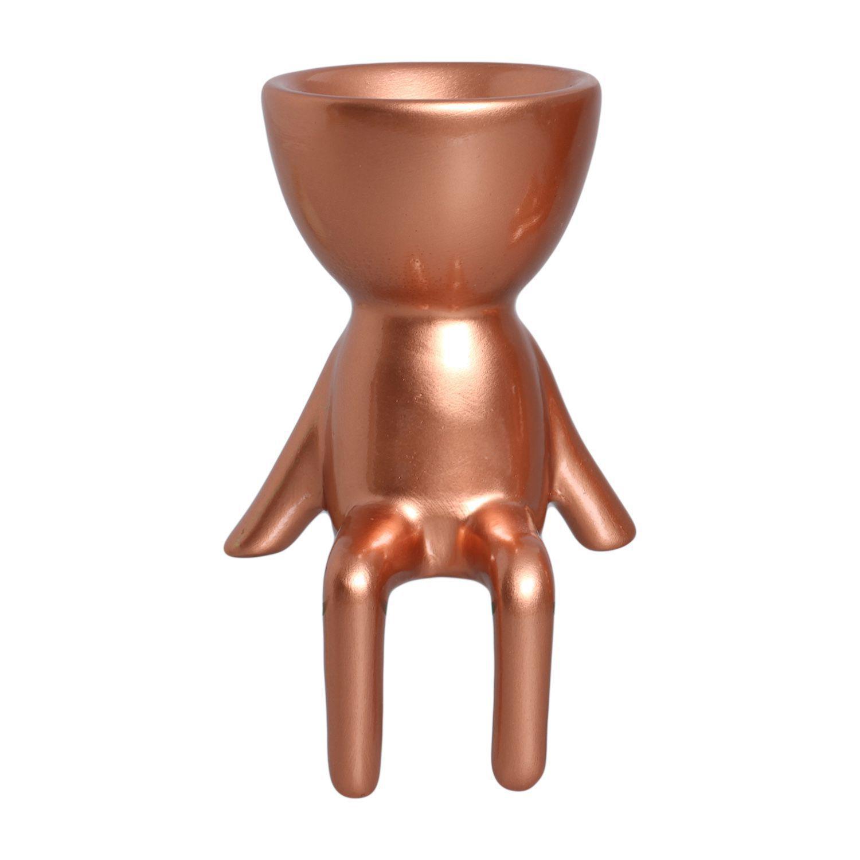 Cachepô de Cerâmica Robert Plant Bronze Sentado Relax 15cm - 5795