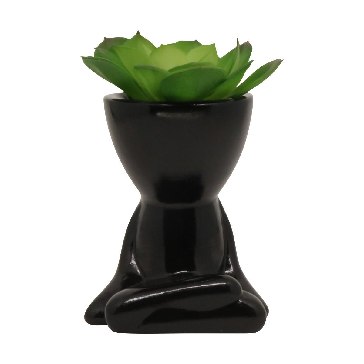 Cachepô de Cerâmica Robert Plant Preto Sentado Pernas Cruzadas 10,5cm - 5802