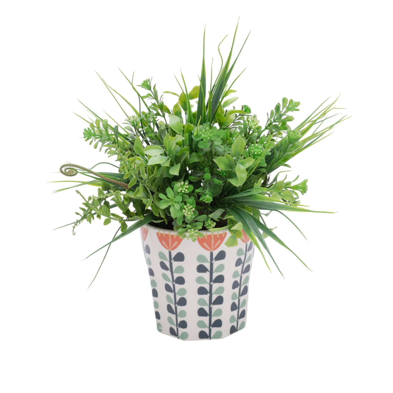 Cachepô de Cerâmica Scandinavian Flowers Branco 13,5cm x 13,5cm - 43862