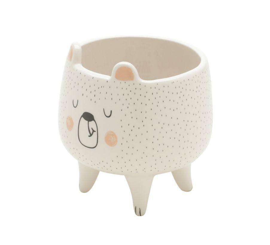 Cachepô de Cerâmica Urso Dorminhoco Branco 9,5cm x 8cm - 42501