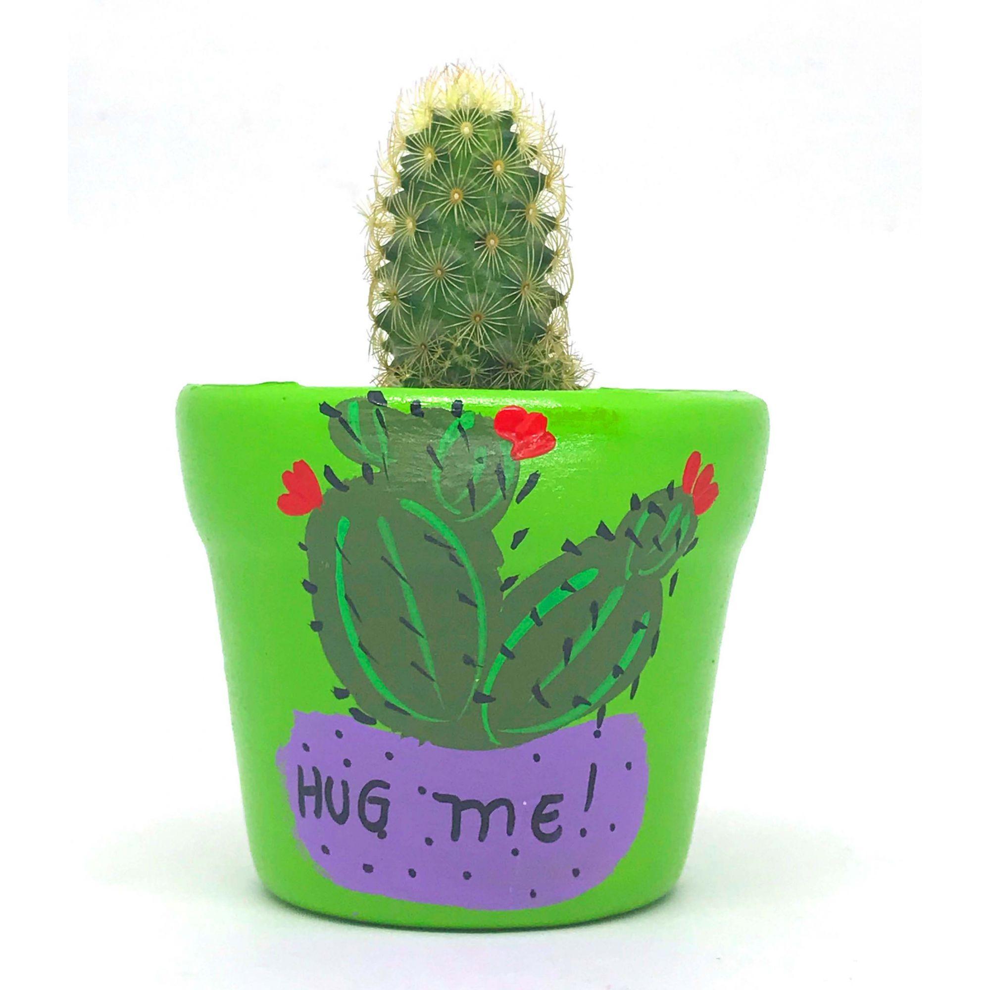 Cachepô de Cerâmica Verde Cacto Hug Me! 7,5cm x 8cm