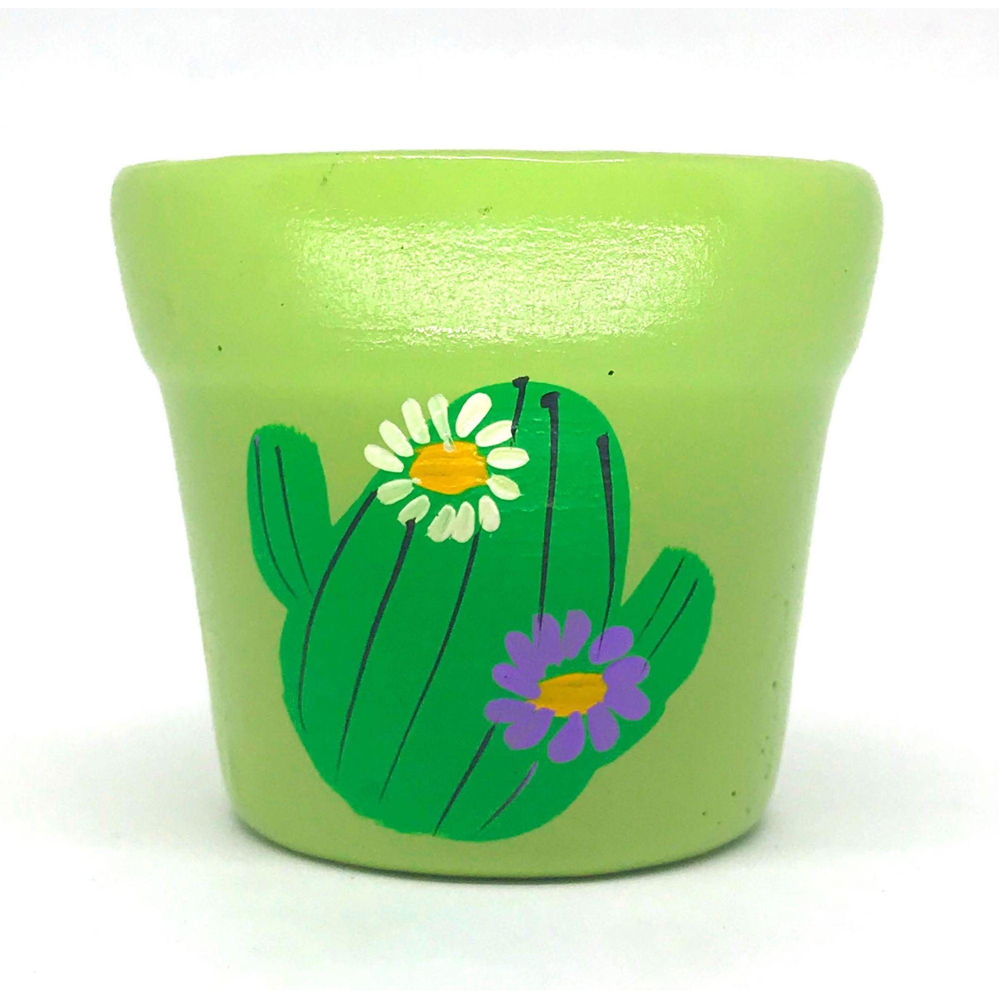 Cachepô de Cerâmica Verde Claro Cacto Florido 7,5cm x 8cm