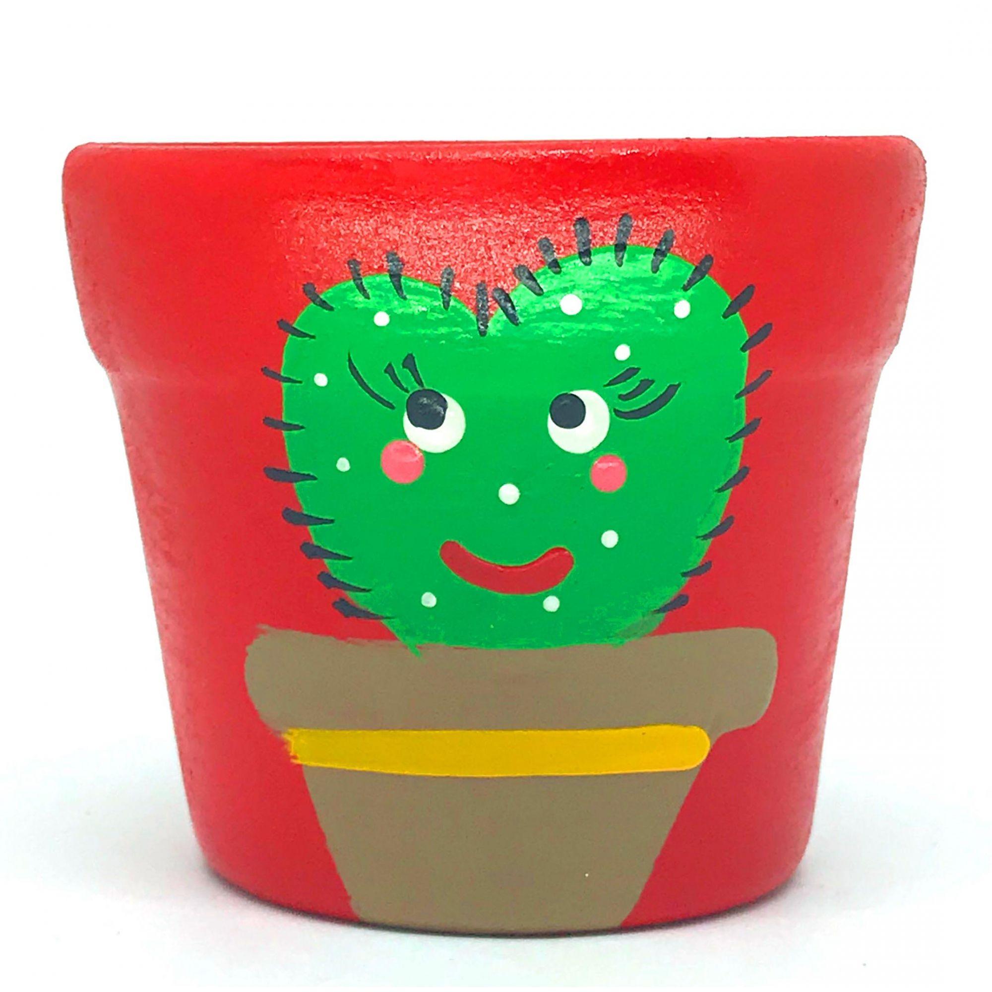 Cachepô de Cerâmica Vermelho Cacto Coração 7,5cm x 8cm