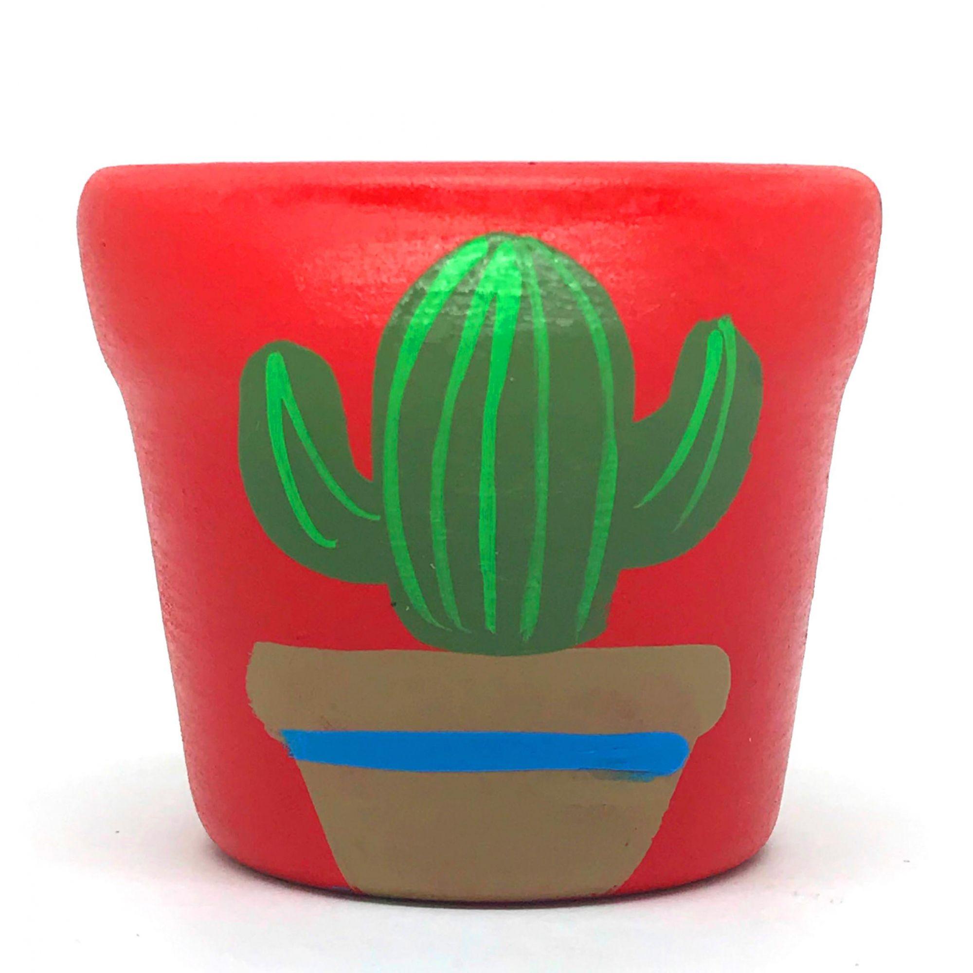 Cachepô de Cerâmica Vermelho Cacto no Vaso 7,5cm x 8cm