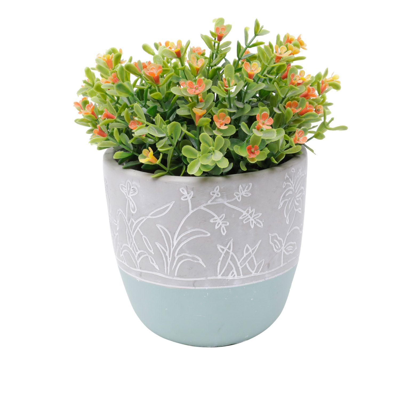 Cachepô de Concreto Flower Verde e Cinza 11cm x 11,5cm - 44065
