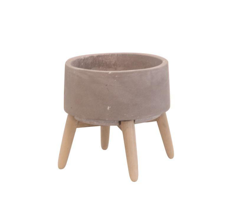 Cachepô de Concreto Redondo com Pé de Madeira Cinza 15cm x 15cm - 42520