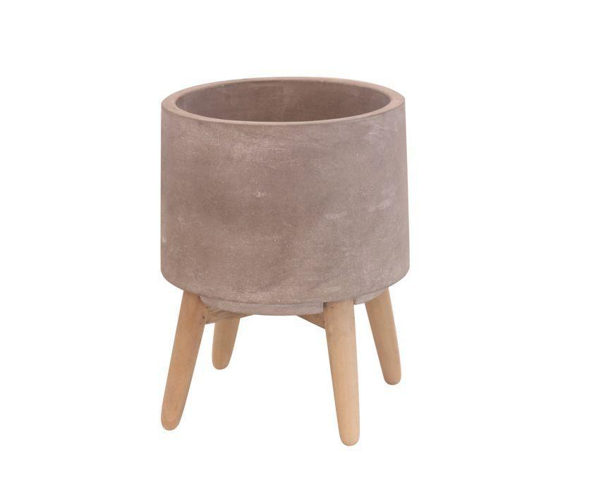 Cachepô de Concreto Redondo com Pé de Madeira Cinza 19cm x 14,5cm - 42521