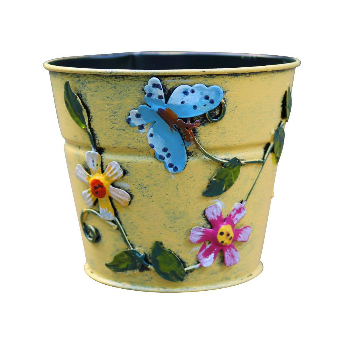 Cachepô de Lata Decorativo 11cm x 12,5cm Amarelo