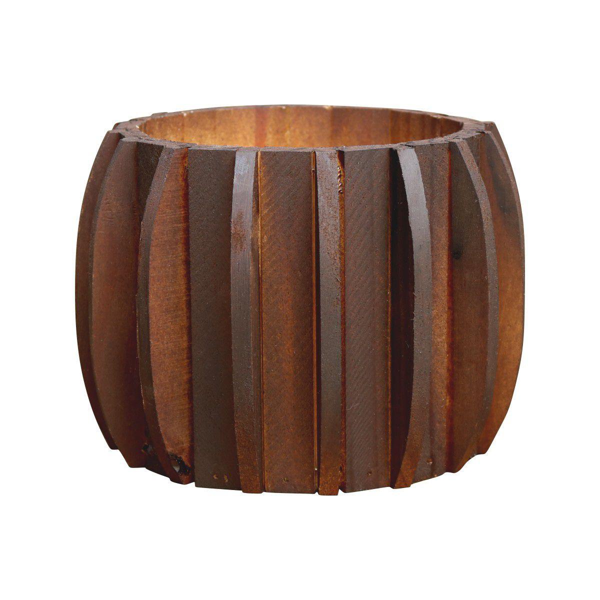 Cachepô de Madeira Redondo Pequeno 15cm x 15cm cor Nogueira