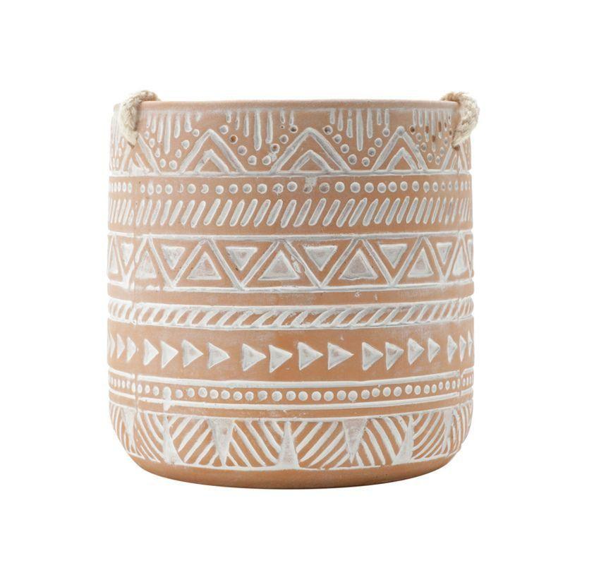 Cachepô de Cerâmica Suspenso Redondo Estampa Étnica Terracota 11,5cm x 11cm - 42551