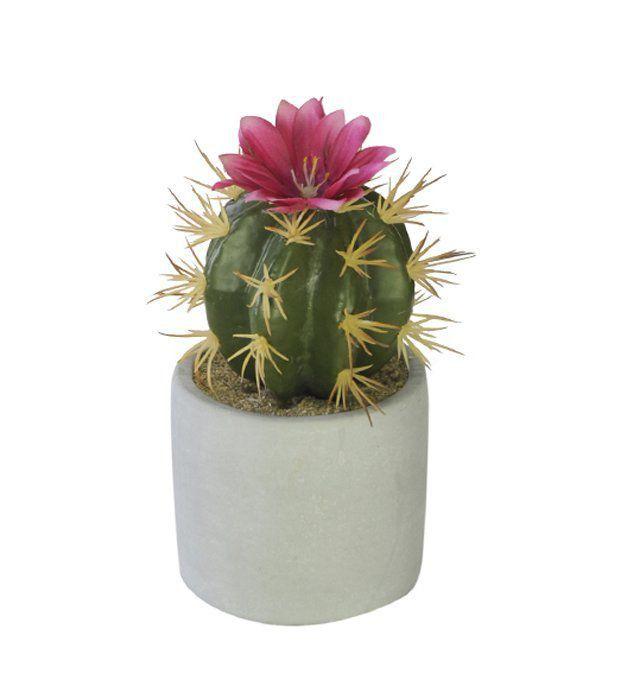 Cacto artificial com Vaso 14cm x 7cm Flor Rosa - 36397001