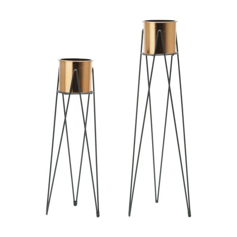 Conjunto 2 Vasos Geométricos Bronze com Suportes de Metal Tripé - 40079