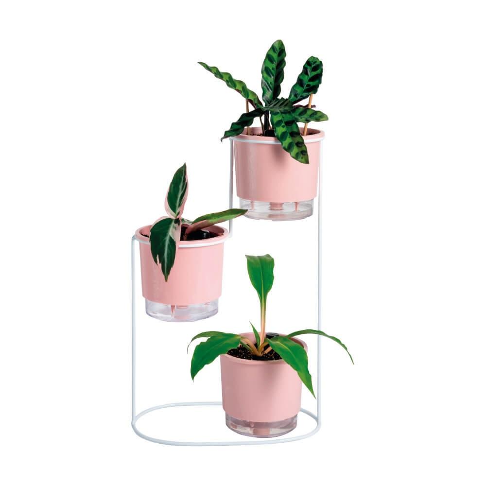 Conjunto Cascata Branco com Vasos Autoirrigáveis Rosa Quartzo