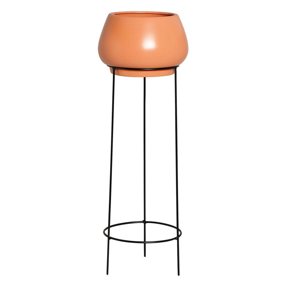 Conjunto Vaso de Chão em Cerâmica Redondo cor Terracota com Suporte de Ferro Preto