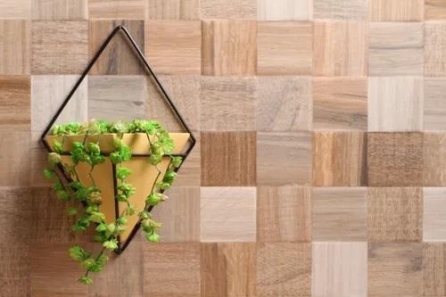 Conjunto Vaso de Parede Amarelo com Suporte Triangular 30cm x 21cm