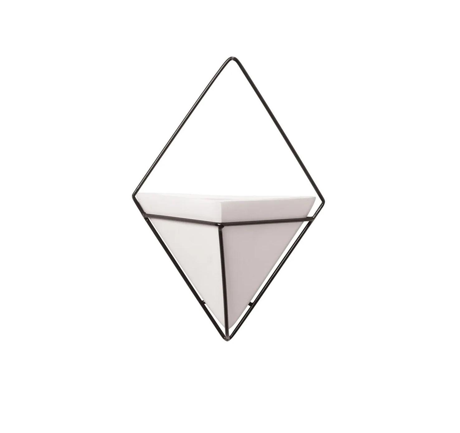 Conjunto Vaso de Parede Branco com Suporte Triangular 30cm x 21cm