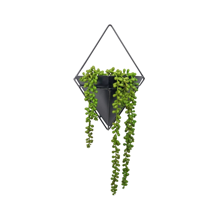 Conjunto Vaso de Parede Preto com Suporte Triangular 30cm x 21cm