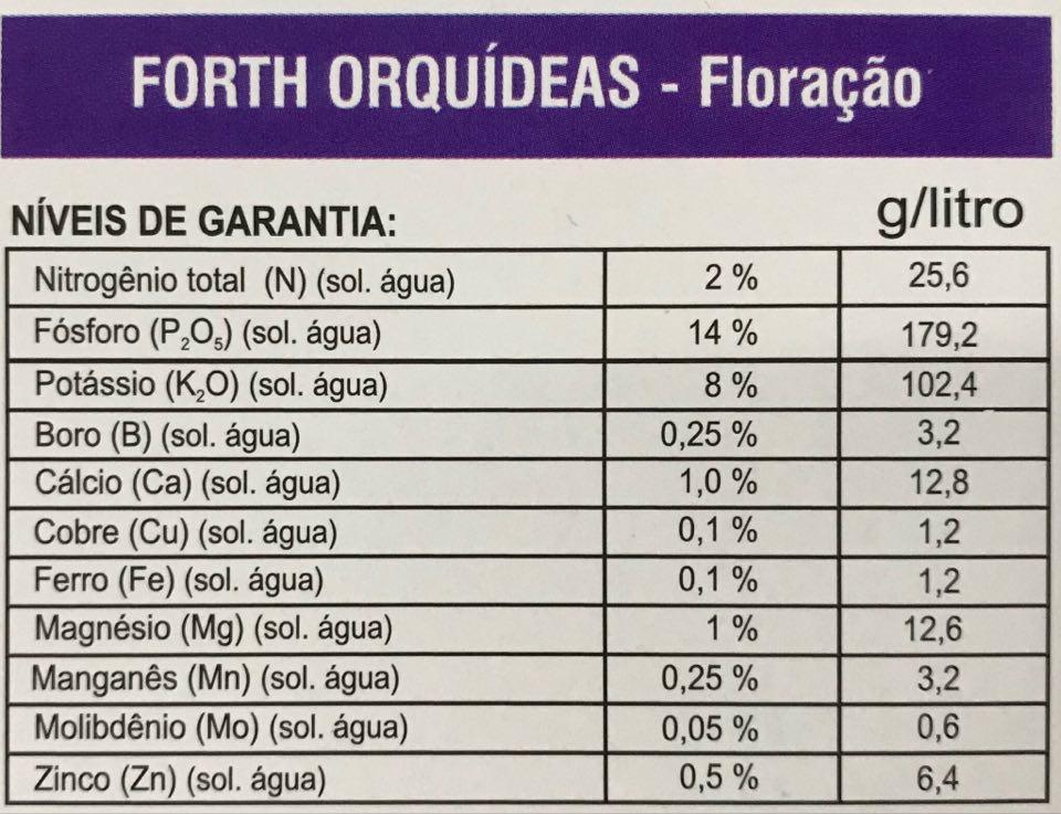 Fertilizante Forth Orquídeas Floração 60ml concentrado - faz 12 litros