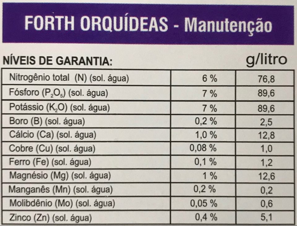 Fertilizante Forth Orquídeas Manutenção 500ml concentrado - faz 100 litros