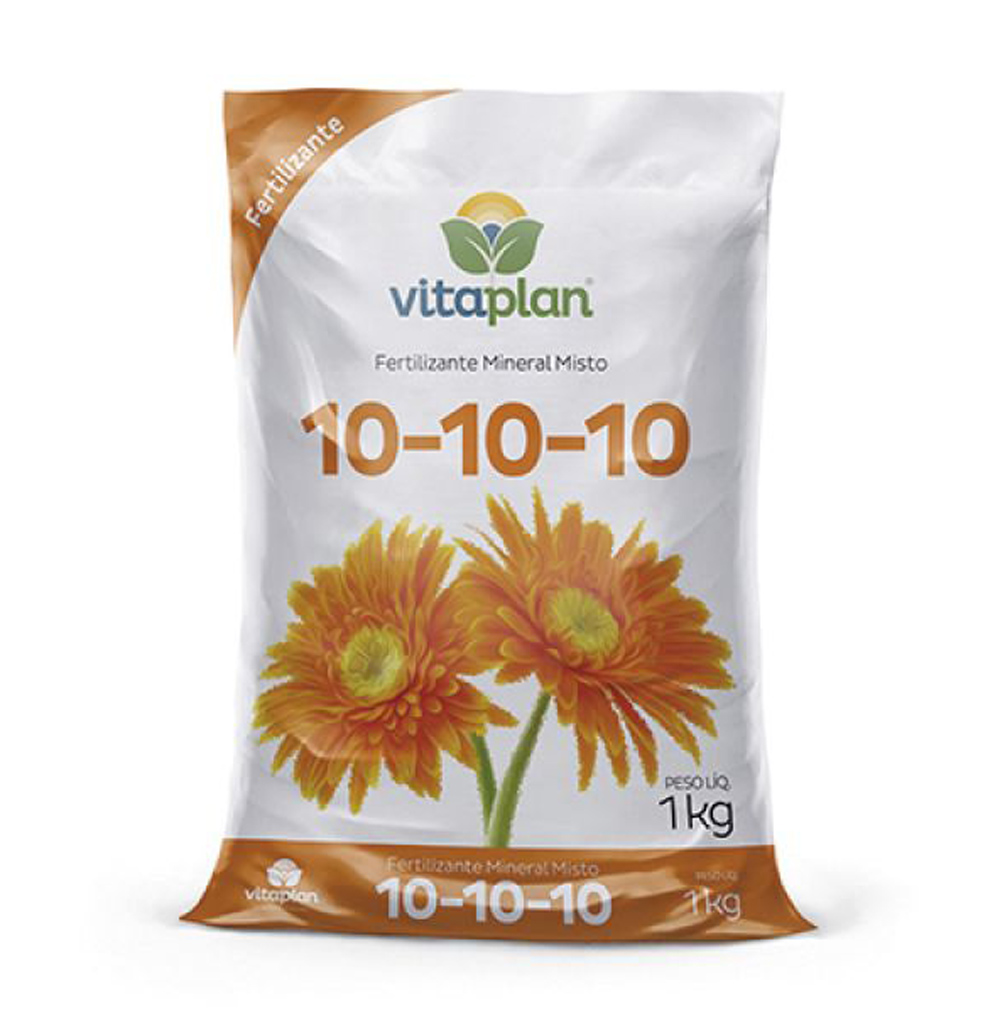 Fertilizante Mineral Misto NPK 10-10-10 Vitaplan Pacote com 1kg