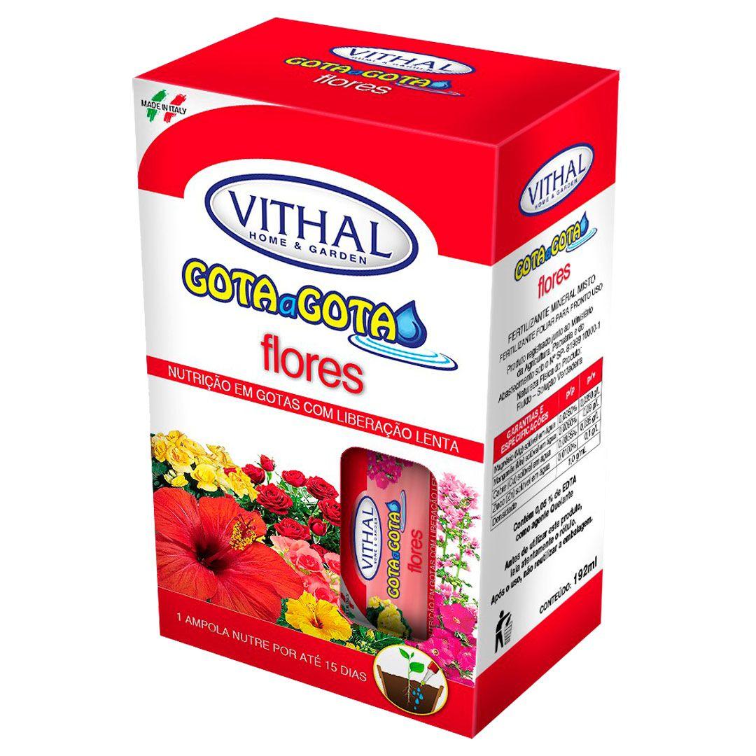 Fertilizante Vithal Gota a Gota para Flores com 6 Ampolas de 32ml