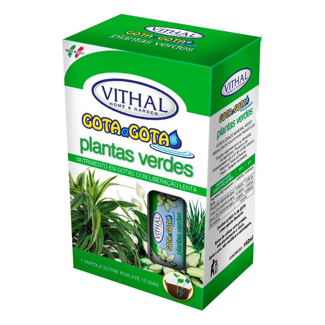Fertilizante Vithal Gota a Gota para Plantas Verdes com 6 Ampolas de 32ml