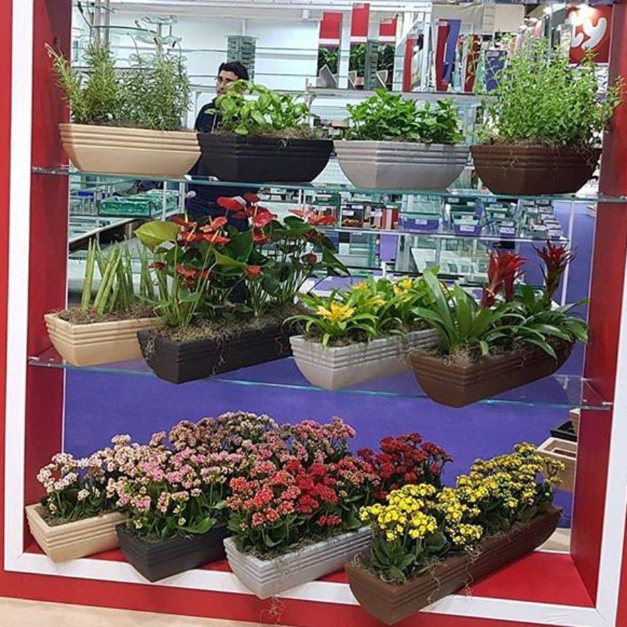 Floreira Estreita Jateada Vogue cor Ferrugem 13cm x 40,5cm - FEP1