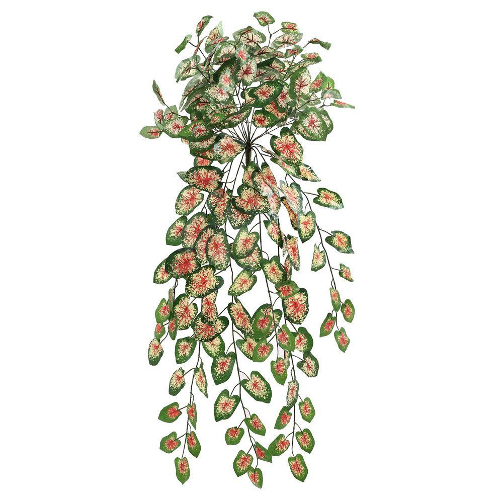 Folhagem Caladium artificial X18 Verde com vermelho 80cm - 01511001