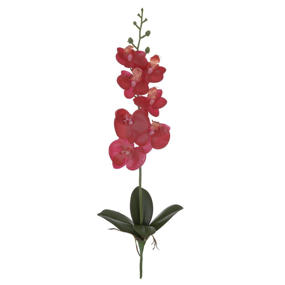Haste de Orquídea Phalaenopsis artificial Real Toque Vermelha com Folhas Verdes X7 45cm - 31997004