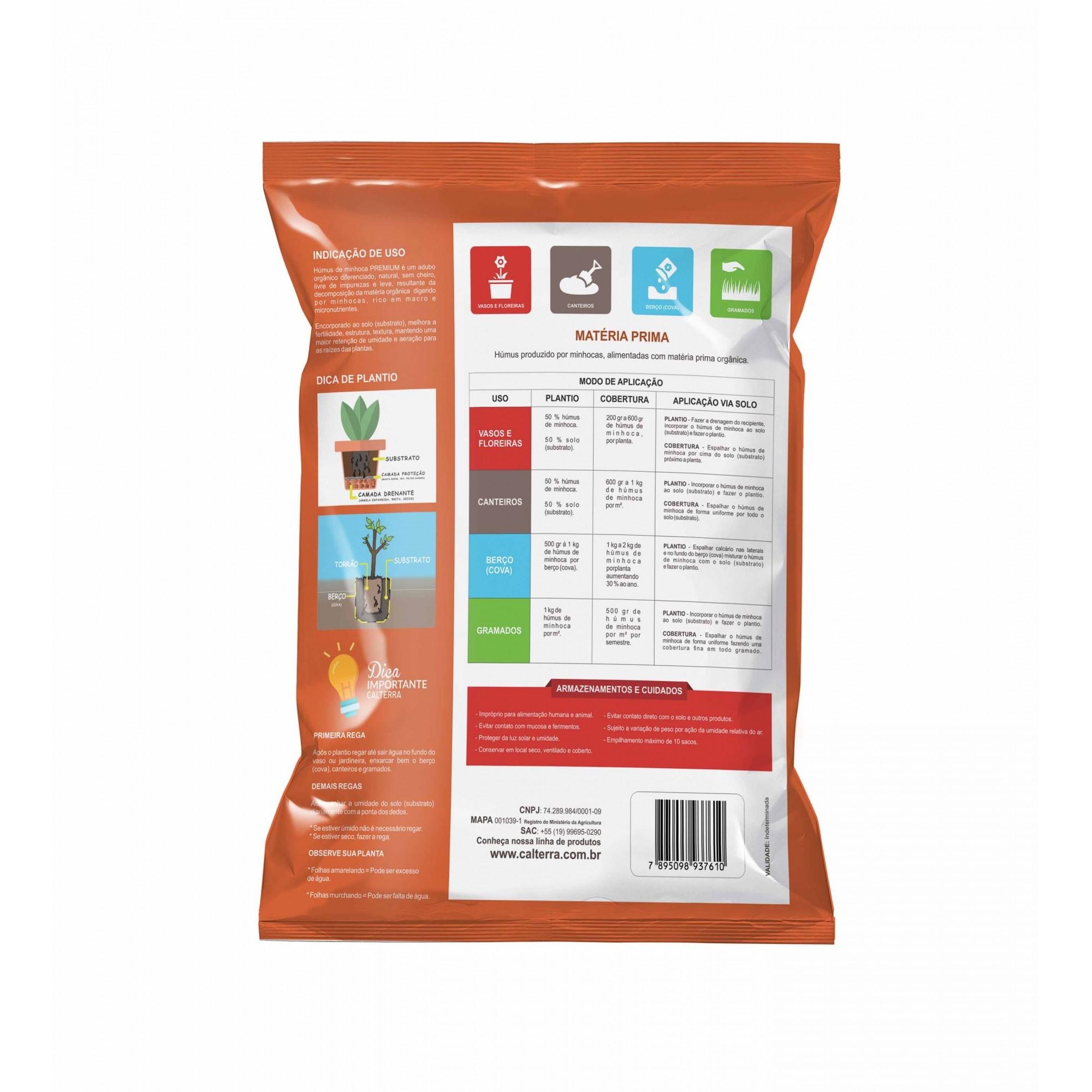 Húmus de Minhoca Premium 10kg Calterra