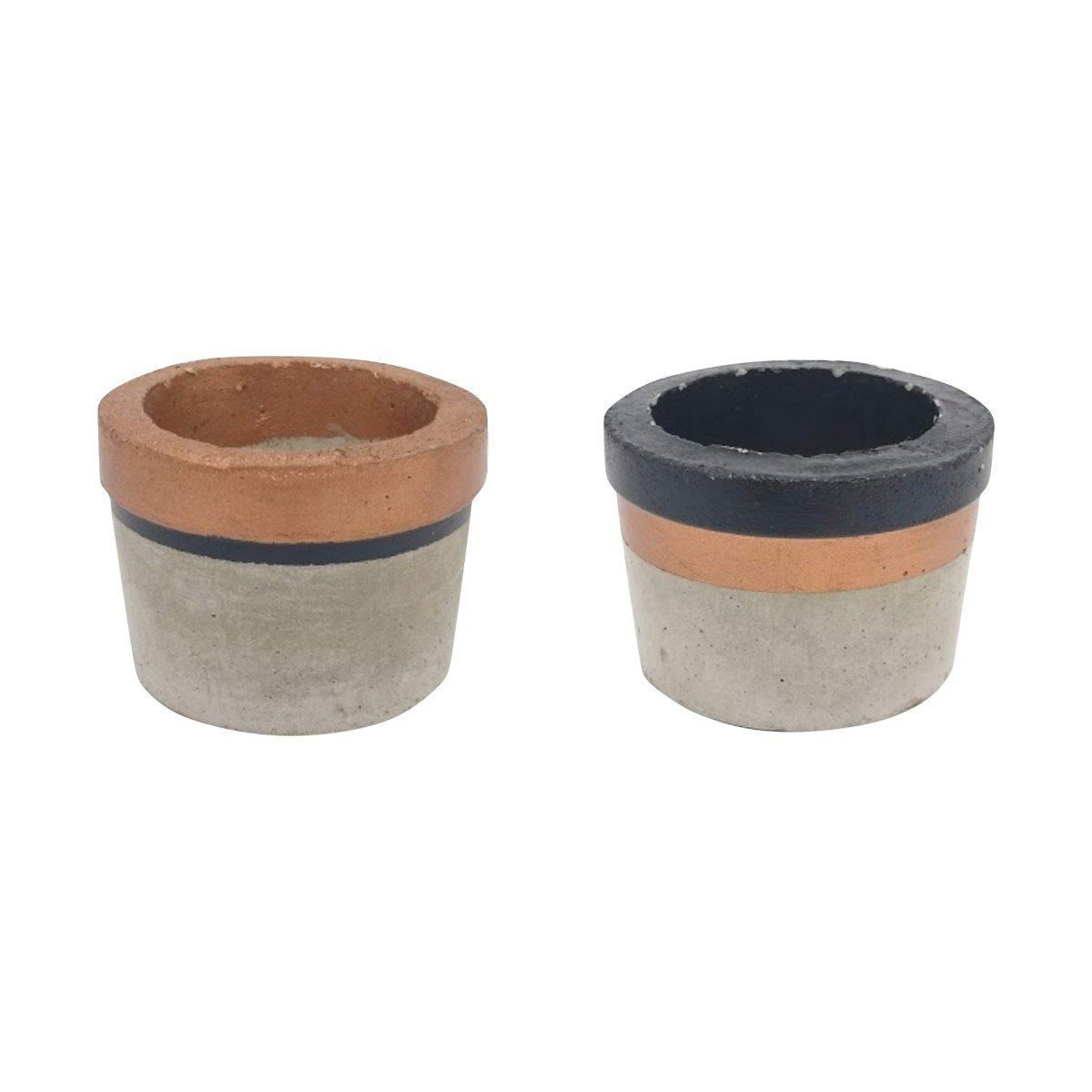 Kit 2 vasos de cimento 5cm x 6,5cm MD1717CPPC