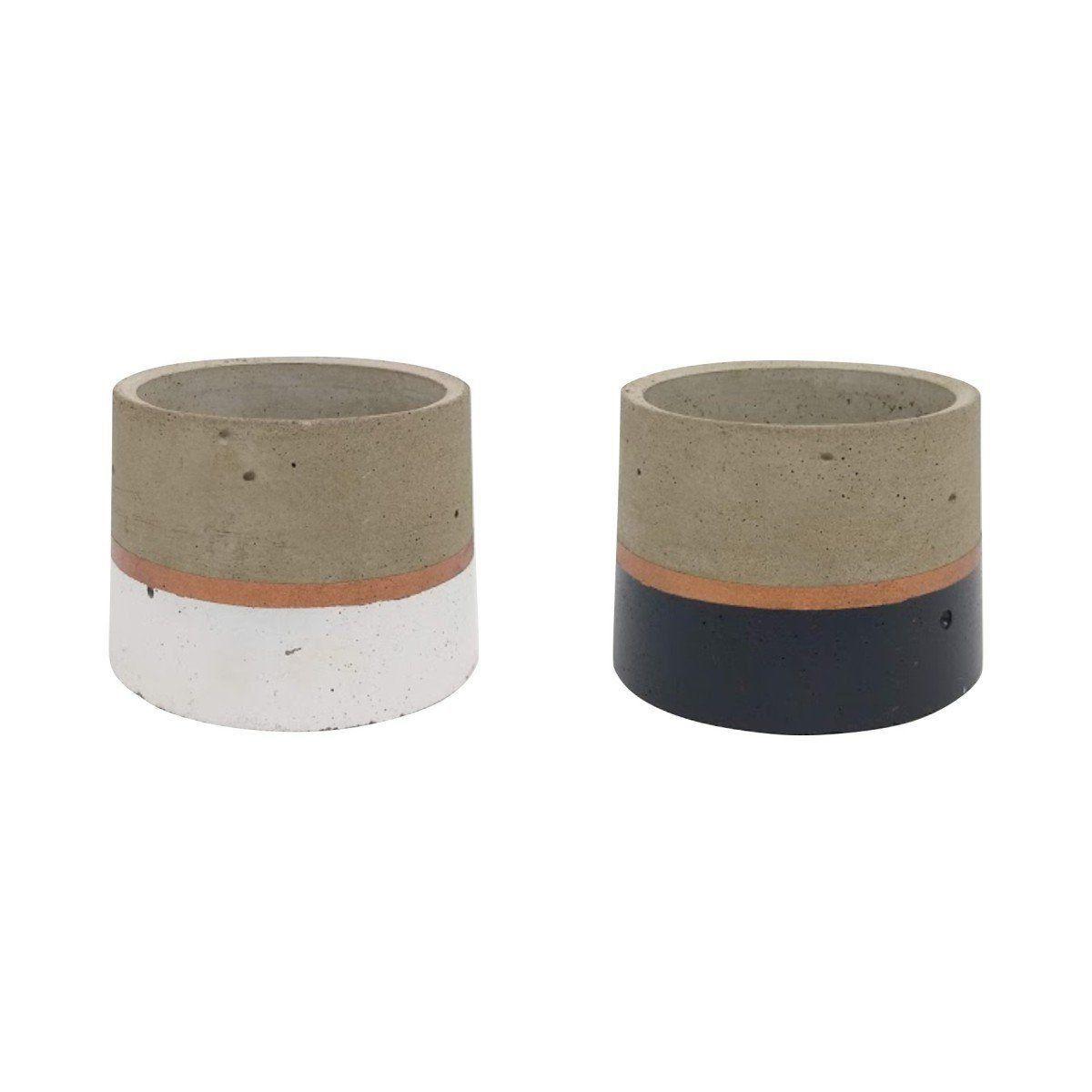 Kit 2 vasos de cimento 6,5cm x 8cm MD0101BCPC