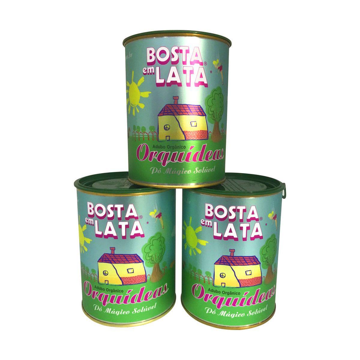 Kit 3 latas de Adubo Orgânico Bosta em Lata para Orquídeas 400g