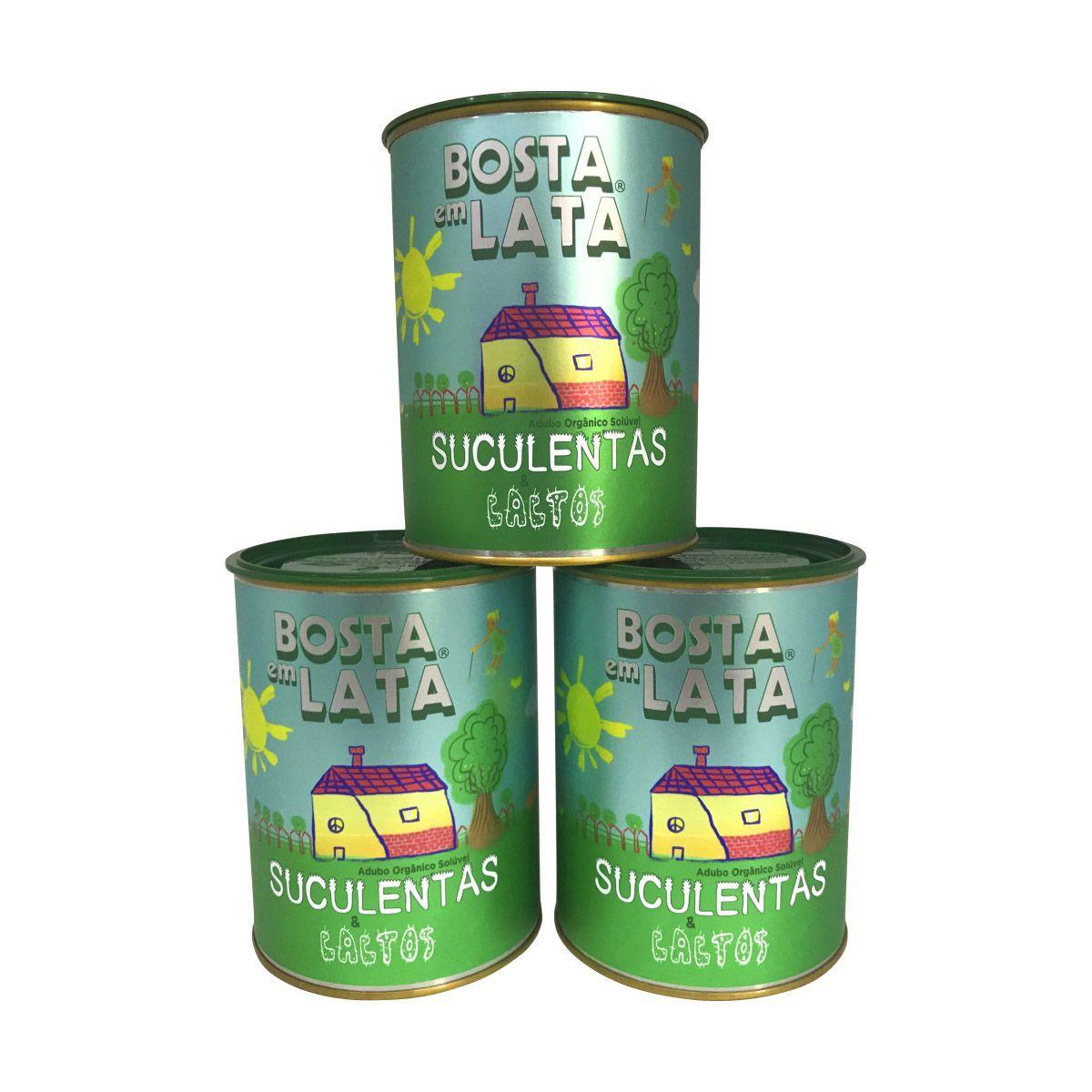 Kit 3 latas de Adubo Orgânico Bosta em Lata para Suculentas e Cactos 400g
