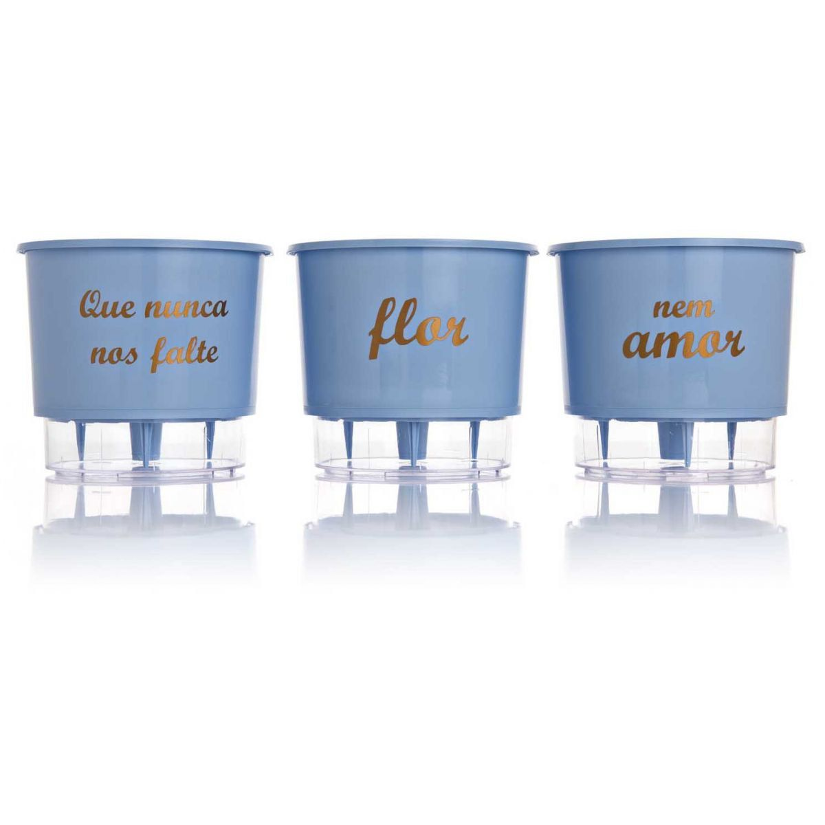 Kit 3 Vasos Autoirrigáveis Pequenos N02 12 cm x 11 cm Flor e Amor Azul Serenity