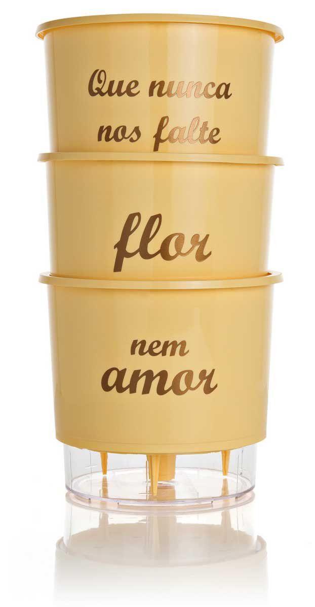 Kit 3 Vasos Autoirrigáveis Pequenos N02 12 cm x 11 cm Flor e Amor Pêssego