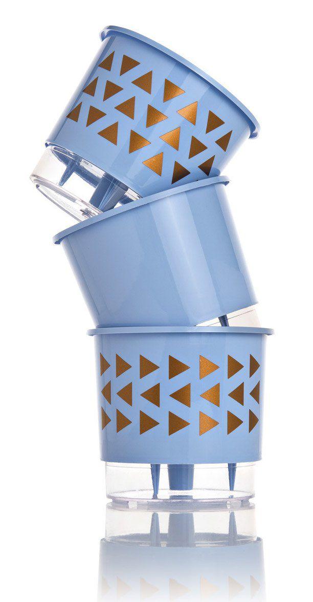 Kit 3 Vasos Autoirrigáveis Pequenos N02 12 cm x 11 cm Geométricos Azul Serenity