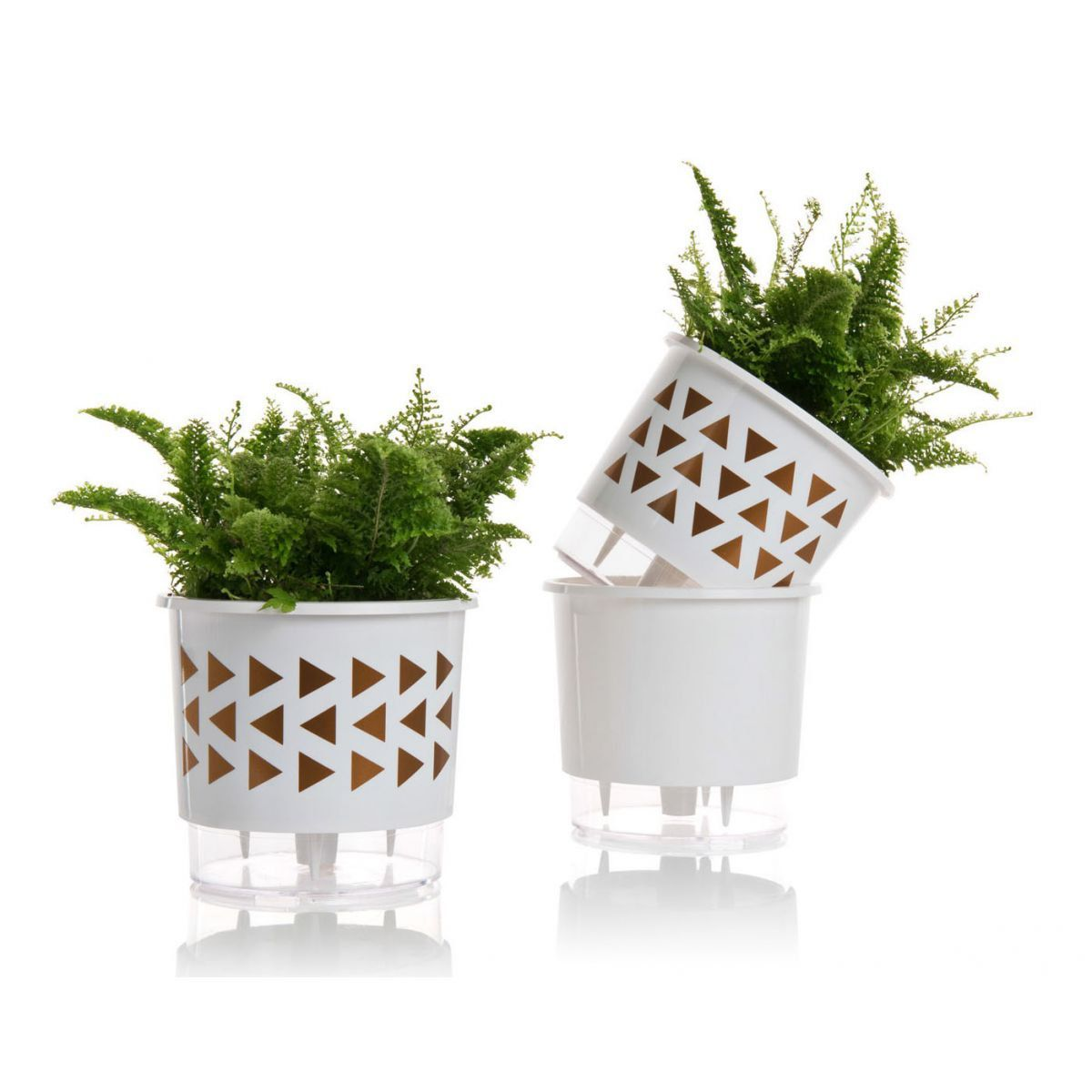 Kit 3 Vasos Autoirrigáveis Pequenos N02 12 cm x 11 cm Geométricos Branco