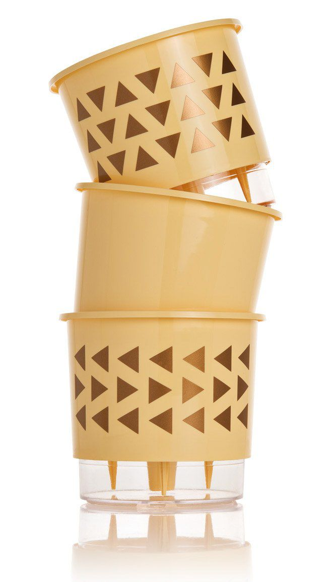 Kit 3 Vasos Autoirrigáveis Pequenos N02 12 cm x 11 cm Geométricos Pêssego