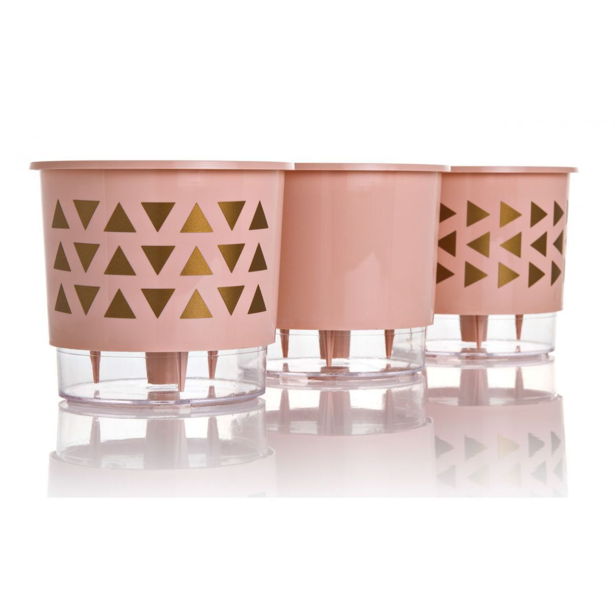 Kit 3 Vasos Autoirrigáveis Pequenos N02 12 cm x 11 cm Geométricos Rosa Quartzo