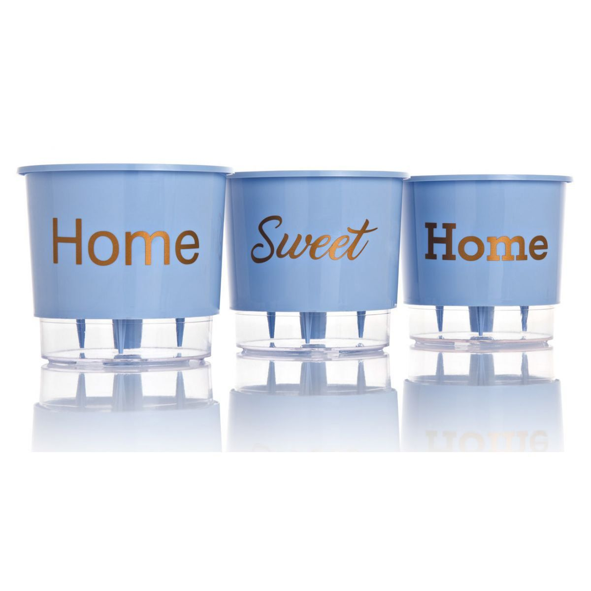 Kit 3 Vasos Autoirrigáveis Pequenos N02 12 cm x 11 cm Home Sweet Home Azul Serenity