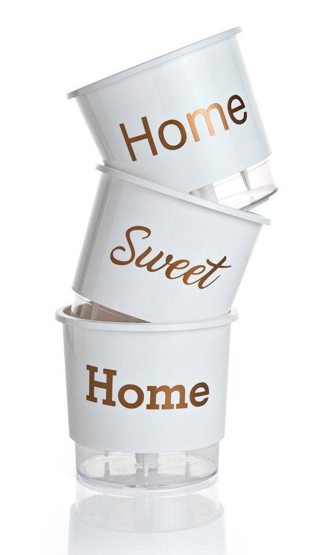 Kit 3 Vasos Autoirrigáveis Pequenos N02 12 cm x 11 cm Home Sweet Home Branco