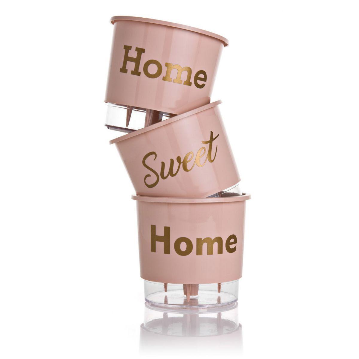 Kit 3 Vasos Autoirrigáveis Pequenos N02 12 cm x 11 cm Home Sweet Home Rosa Quartzo