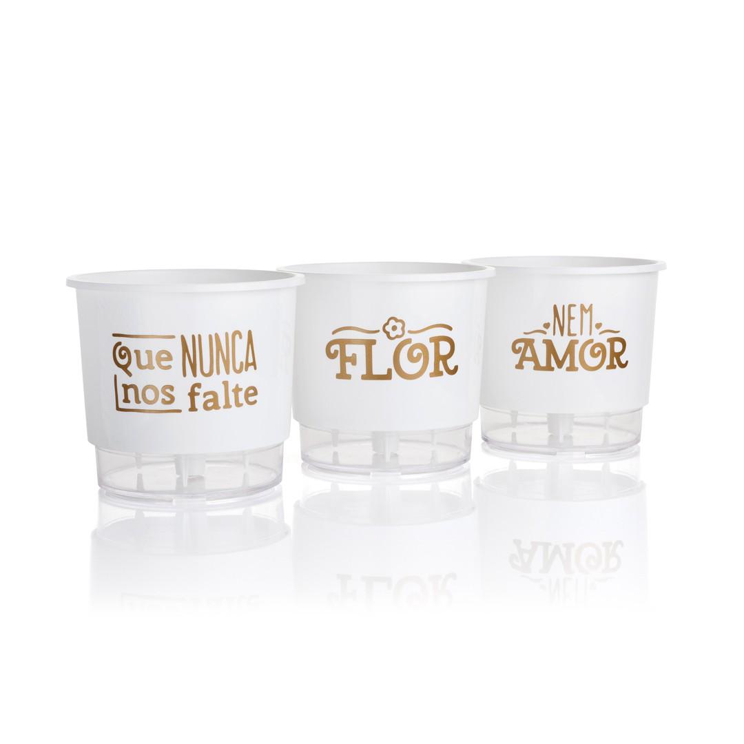 Kit 3 Vasos Autoirrigáveis Pequenos N02 12 cm x 11 cm Flor e Amor Branco