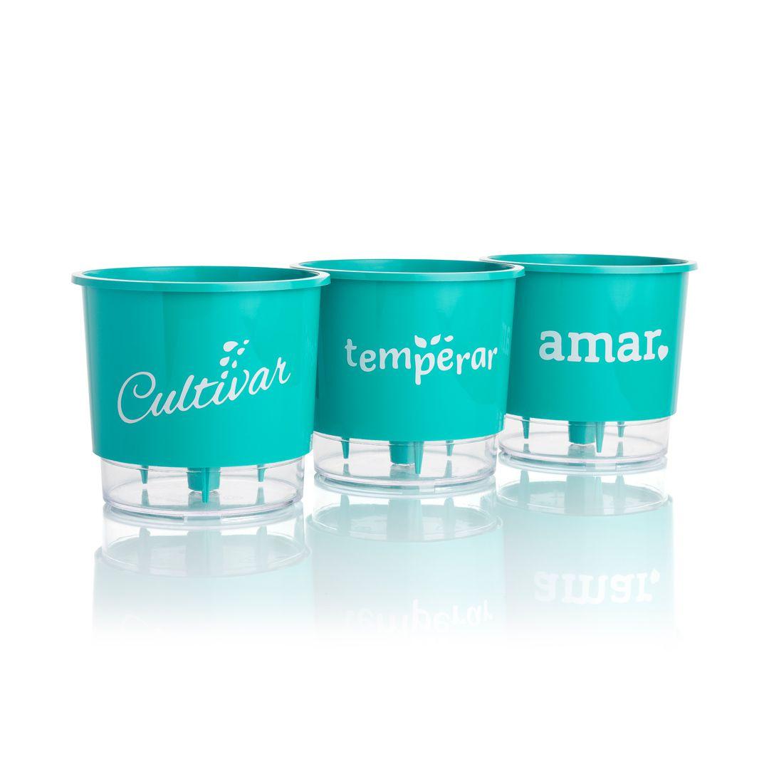 Kit 3 Vasos Autoirrigáveis Pequenos N02 12cm x 11cm Cultivar Temperar e Amar Verde Raiz