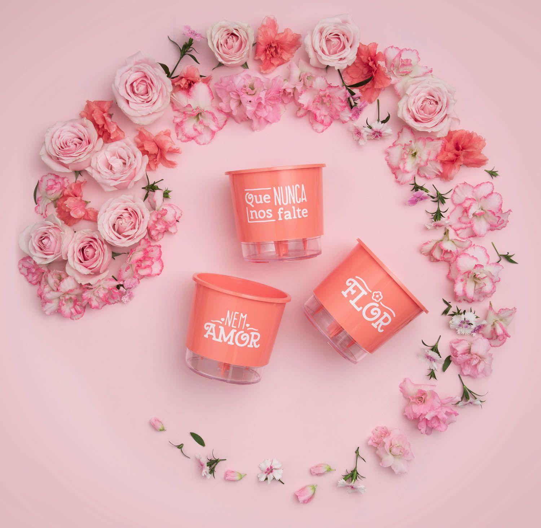Kit 3 Vasos Autoirrigáveis Pequenos N02 12cm x 11cm Flor e Amor Coral