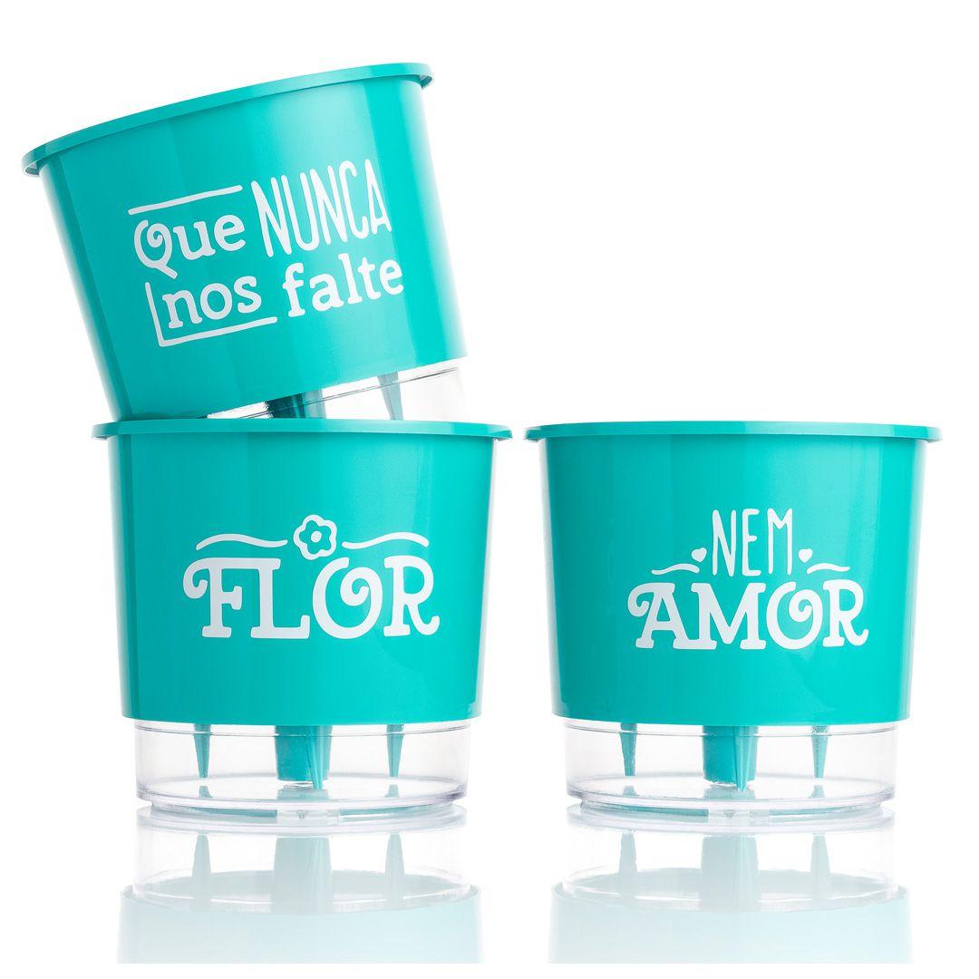 Kit 3 Vasos Autoirrigáveis Pequenos N02 12cm x 11cm Flor e Amor Verde Raiz